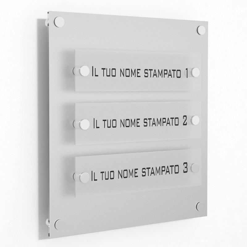 Targa in Plexiglass Stampata colore Silver tipologia 3 Moduli Small