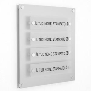 Targa in Plexiglass Stampata colore Silver tipologia 4 Moduli Small