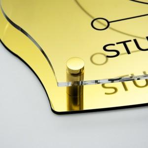 Targa Doppia Lastra in Alluminio Composito Oro Lucido e Plexiglass Trasparente Stampata Impero