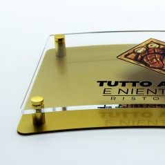 Targa Doppia Lastra in Plexiglass Gold e Trasparente Stampata Bandiera