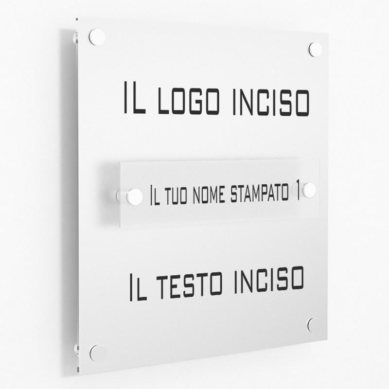 Targa in Plexiglass Stampata e Incisa colore Silver tipologia 1 Modulo Small