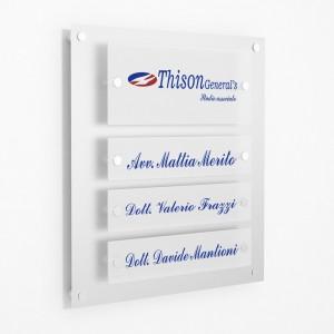 Targa in Plexiglass Stampata colore Silver tipologia 1 + 3 Moduli Small