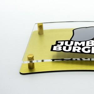 Targa Doppia Lastra in Alluminio Composito Oro Spazzolato e Plexiglass Trasparente Stampata Bandiera