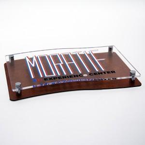Targa Doppia Lastra in Alluminio Composito Corten e Plexiglass Trasparente Stampata Bandiera