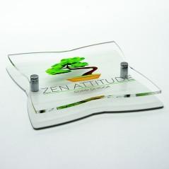 Targa Doppia Lastra in Plexiglass Bianca e Trasparente Stampata Stella a 4 Punte