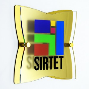 Targa Doppia Lastra in Plexiglass Gold e Trasparente Stella a 4 Punte