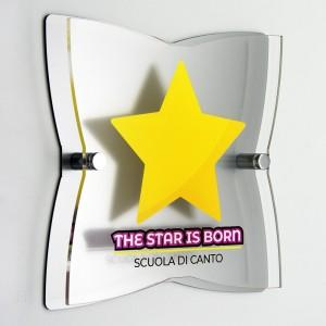 Targa Doppia Lastra in Plexiglass Silver e Trasparente Stella a 4 Punte