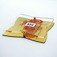 Targa Doppia Lastra in Alluminio Composito Oro Lucido e Plexiglass Trasparente Stella a 4 Punte