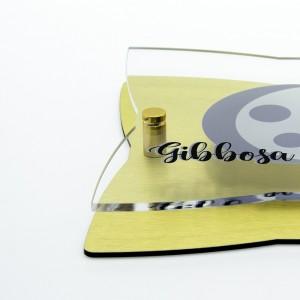 Targa Doppia Lastra in Alluminio Composito Oro Spazzolato e Plexiglass Trasparente Stella a 4 Punte