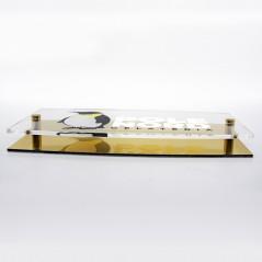Targa Doppia Lastra in Alluminio Composito Oro Lucido e Plexiglass Trasparente Stampata Ellisse Moderna