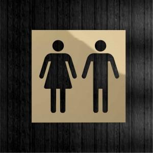 Targhetta da Toilette Quadrata in Alluminio Gold