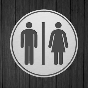 Targhetta da Toilette Circolare in ABS Silver