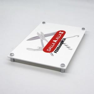 Targa in Plexiglass Bianco Stampata Rettangolare o Quadrata