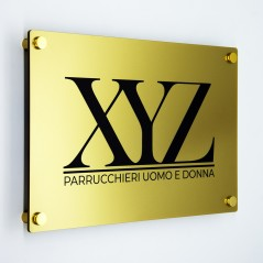 Targa in Plexiglass Gold Stampata Rettangolare o Quadrata