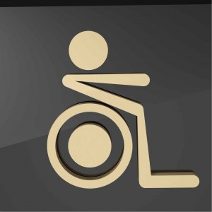 Targhetta in Alluminio da Toilette colore Gold design Moderno Sagomata