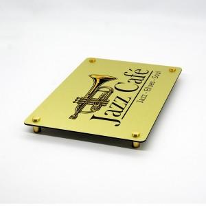 Targa in Alluminio Oro Spazzolato Stampata Rettangolare o Quadrata