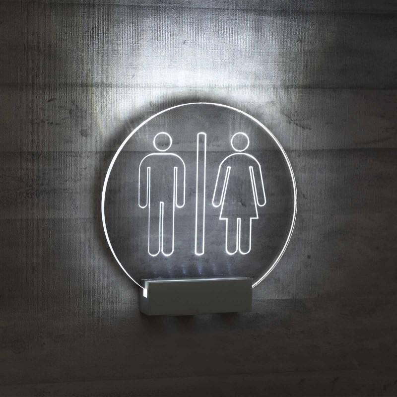 Targhetta in Plexiglass da Toilette con illuminazione a led tipologia Circolare