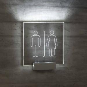 Targhetta in Plexiglass da Toilette con illuminazione a led tipologia Quadrata