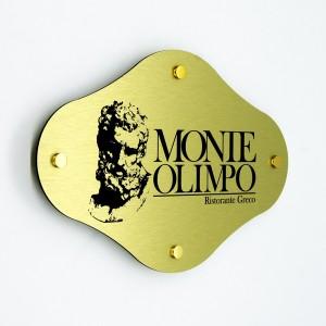 Targa in Alluminio Composito Oro Spazzolato Stampata Rombo Arrotondato