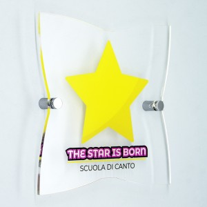 Targa in Plexiglass Trasparente Stampata Stella 4 Punte